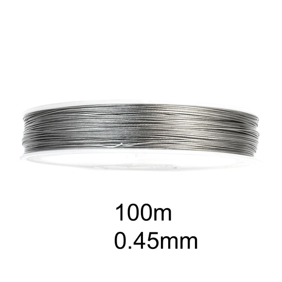 100M Tiger Tail 0.45mm, Silver Beading Wire, Jewelry Cord (110 Yards)
