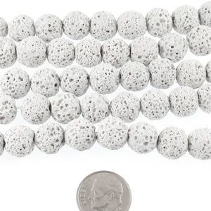 Light Gray Lava Rock Beads, 10mm Round Volcano Beads, 37 Pieces
