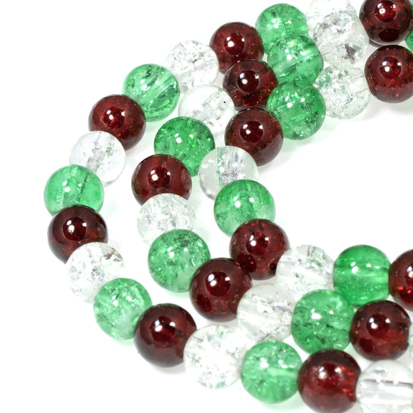Ruby Red, Green & Clear Glass Crackle Bead Set, Christmas Mix 6mm (300 Pieces)