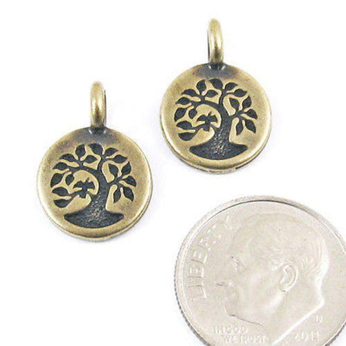 Oxidized Brass Bird in a Tree Charms, Mindfulness Jewelry Charm 2/Pkg