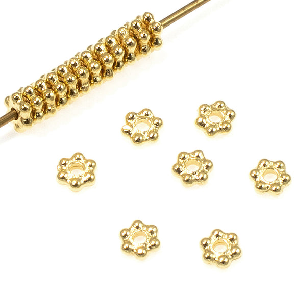 Bright Gold 3mm Daisy Spacer Beads, TierraCast Pewter 50/Pkg