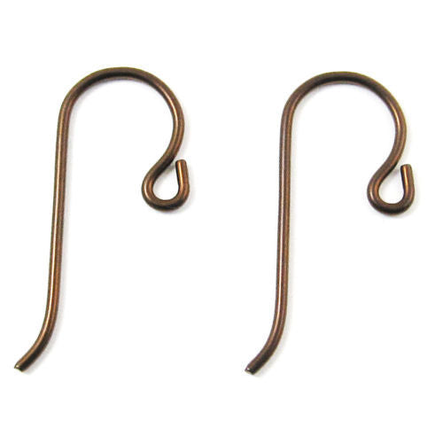 Antique Copper Niobium Ear Wires with Small Loop, TierraCast (10 Pieces)