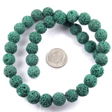 "Green Lava Rock Beads, 10mm Round Volcano Beads, 15"" Strand, 37 Pieces"