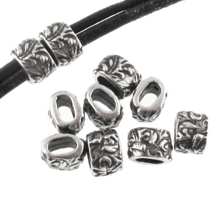 Dark Silver Pewter Jardin Barrel Leather Crimp Beads