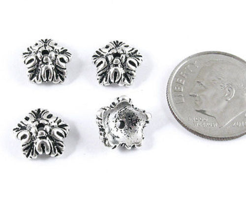 Silver Oak Leaf Bead Caps, TierraCast Autumn Fall Findings (4 Pieces)