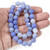 Light Blue 10mm Frosted Crackle Dragon Vein Agate Stone Beads, 38Pcs
