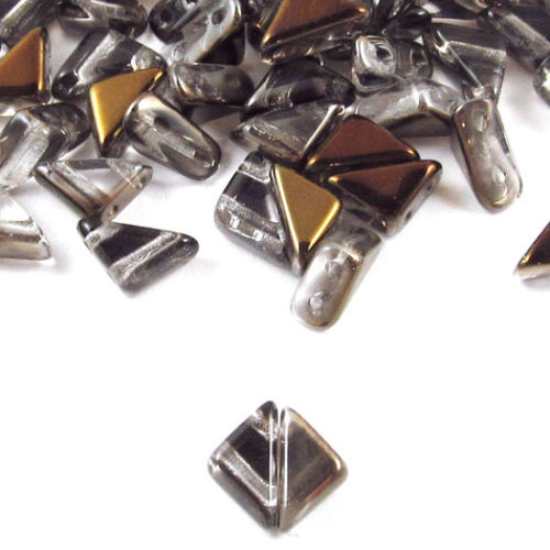 Czech Glass 2-Hole Triangle Beads-TANGO CRYSTAL BRONZE CAPRI 6mm (50)