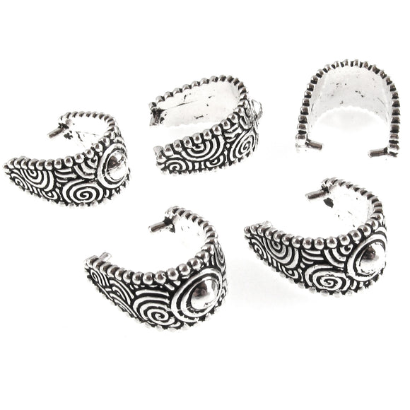 Large Silver Spiral Pinch Bail, TierraCast Jewelry Bails for Pendants (5 Pieces)