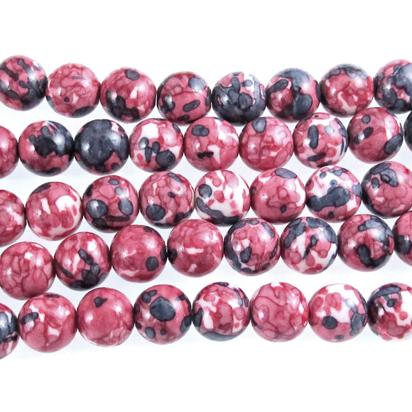 10mm Mauve, Gray and Light Pink Rain Flower Stone Round Beads 15