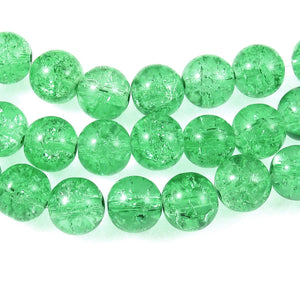 Bright Green 10mm Round Glass Crackle Beads (30 Pieces)