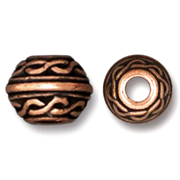 Copper Celtic 8mm Beads, Large 3mm Hole