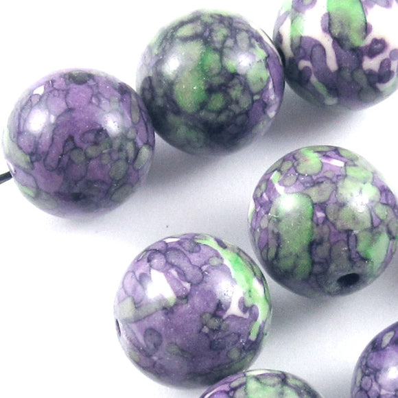 14mm Round Beads-Purple and Green Rain Flower Stone (8)