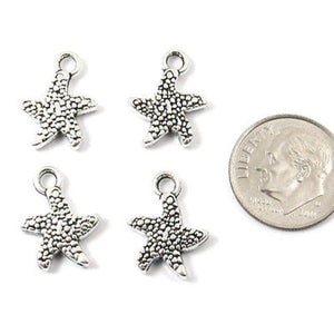 Silver Starfish Metal Charms, Double Sided Sea Star 12x16mm 10/Pkg