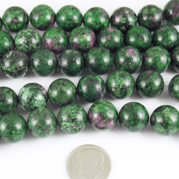Ruby Zoisite 12mm Round Gemstone Beads, Green Pink 15