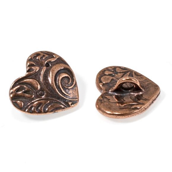 Copper Amor Heart Buttons, TierraCast | Shank | Vine Design 2/Pkg