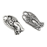 Silver Angel Charms, TierraCast Christmas Angel With Harp Charm 5/Pkg