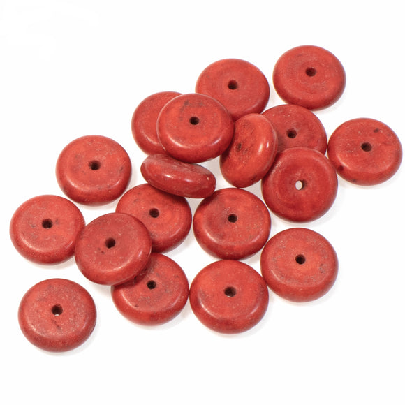 10mm Red Rondelle Stone Beads, Candy Turquoise Disk Spacer 100/Pkg