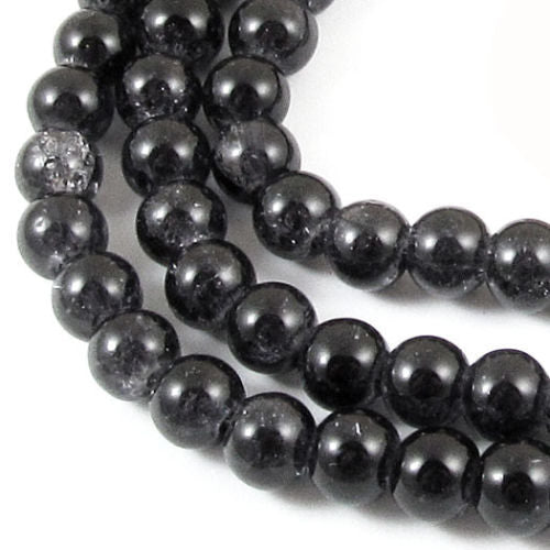 Black 6mm Round Glass Crackle Beads, 100/Pkg
