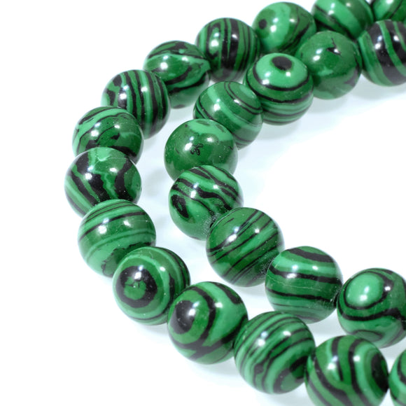 Striped Green Malachite 8mm Round Stone Beads, Manmade, 50 Pcs/Strand