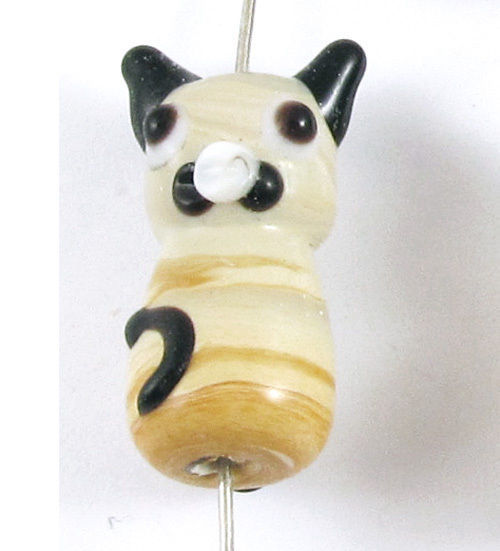 Tan Cat Beads, Lampwork Glass Kitten Kitty Beads (4 Pieces)
