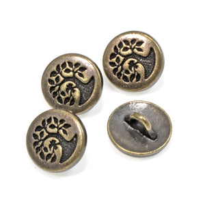 Antique Brass Small Bird in a Tree Buttons, TierraCast Leather Clasp 4/Pkg
