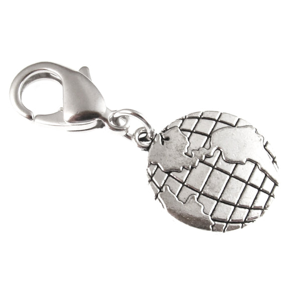 Silver Map Clip-on Charm