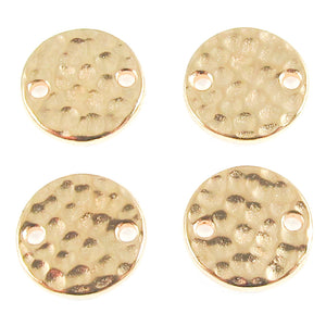 Gold Hammered Round Link Connectors TierraCast Pewter 11mm (4 Pcs)