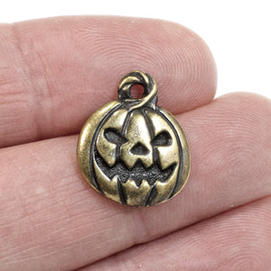 Antique Brass Jack O'Lantern Pumpkin Charms, Fall Halloween Charm 2/Pkg