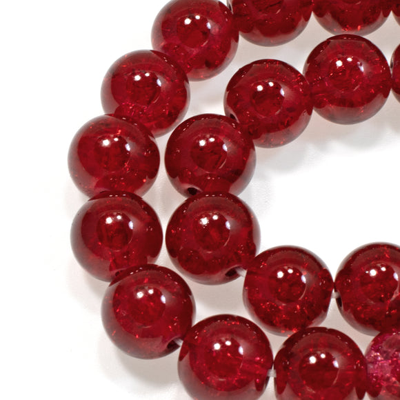 10mm Ruby Red Round Glass Crackle Beads, Holiday Christmas Bead 30/Pkg
