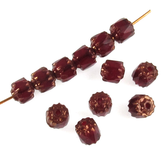 Garnet Red Faceted 6mm Crown Cathedral Beads, Czech Glass (25 Pieces)