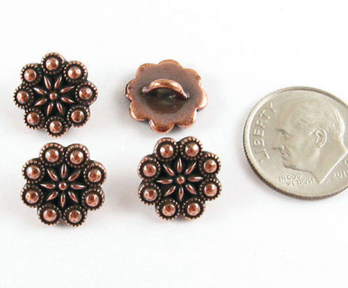 copper czech flower buttons