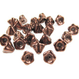 Dark Bronze Bell Flower Beads, Czech Glass 6x8mm (25 Pieces)
