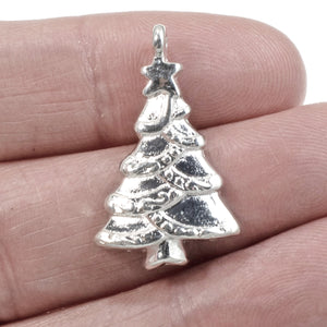 Bright Silver Christmas Tree Pendants, Holiday Charms 5/Pkg