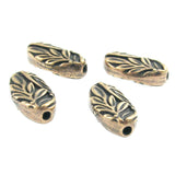 Oval Brass Oxide Botanical Leaf Beads TierraCast Pewter Nature Woodland (4 Pcs)