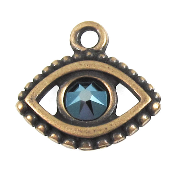 Brass Oxide Evil Eye + Swarovski Sapphire Crystal Charms, TierraCast (2 Pieces)
