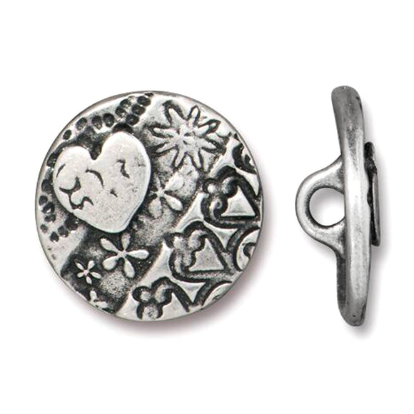 Silver Round Heart Buttons