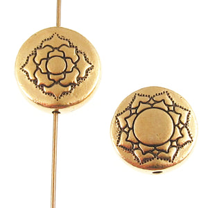 Gold Lotus Puffed Coin Beads, TierraCast Pewter Flower 14mm (2 Pieces)