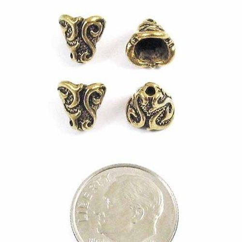 Antique Gold Lily Cone, TierraCast Pewter Bead Bell Caps 4/Pkg