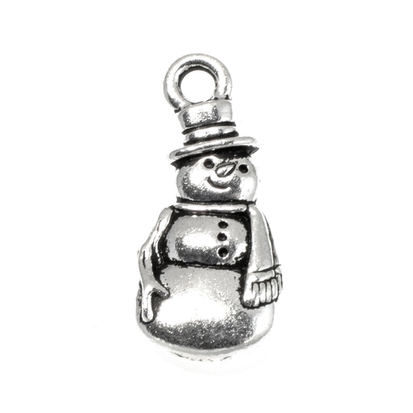 Silver Snowman Charms, TierraCast Frosty Christmas Charm 5/Pkg