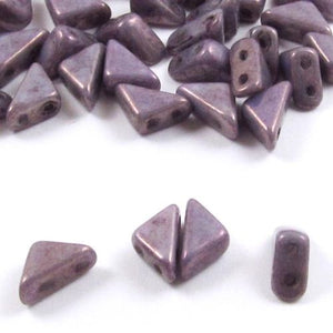 Czech Glass 2-Hole Triangle Beads-TANGO CHALK LUMI PURPLE PINK 6mm (50)