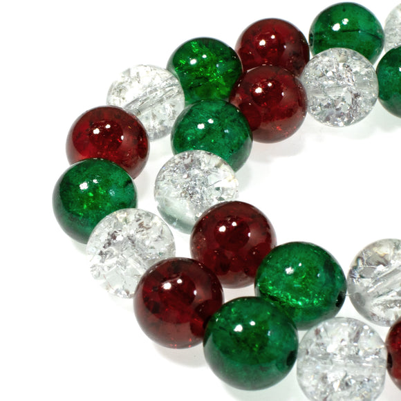 10mm Ruby Red, Green & Clear Glass Crackle Beads, Christmas Set 30/Pkg