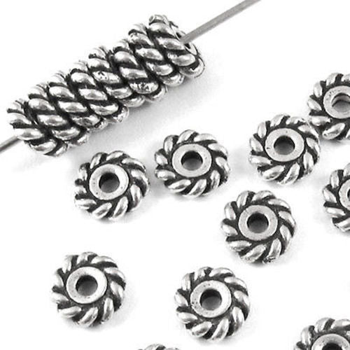 Silver 6mm Twist Spacer, TierraCast Lead-Free Pewter Beads (25 Pieces)