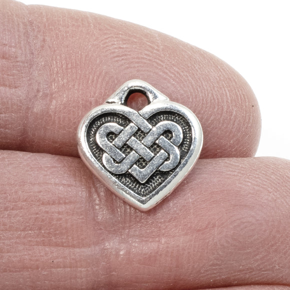 Silver Celtic Heart Charms, TierraCast Double Sided Love Knot 2/Pkg