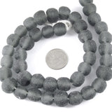"15"" Recycled Glass Rustic Round Beads-GRAY 10mm (40)"