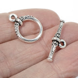 Silver Heirloom Toggle Clasp, TierraCast Ornate Clasp (1 Set)