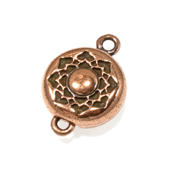 Copper Lotus Magnetic Clasp, TierraCast Boho Flower (1 Set)