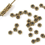 Antique Gold 3mm Daisy Spacer Beads, TierraCast Lead Free Pewter 50/Pkg