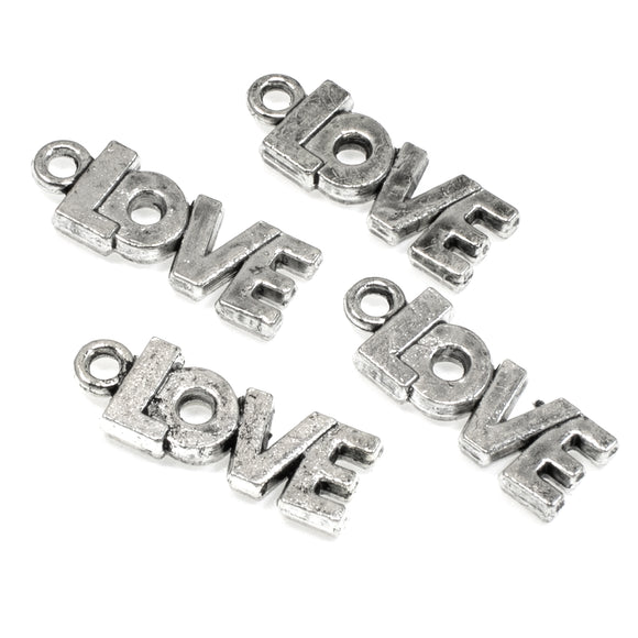 Silver Love Word Charms, Metal Inspirational Message Pendant 20/Pkg