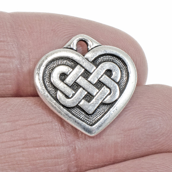 Silver Celtic Heart Pendant, TierraCast Endless Love Knot (1 Piece)