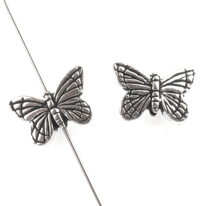 Silver Butterfly Beads, TierraCast Pewter Insect, Animal Beads, 2/Pkg